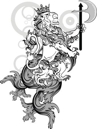 leeuw heraldische wapen tattoo tshirt in vector-formaat Stock Illustratie
