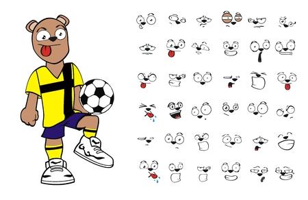 teddy bear soccer cartoon in vector format very easy to edit