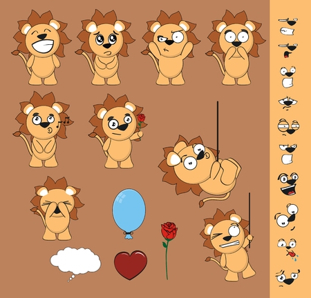 lion funny cartoon baby set in vector format Vector