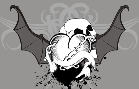 heart winged bat skull tattoo wallpaper in vector format Vector