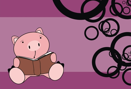 pig baby reading cartoon wallpaper in vector format Vector