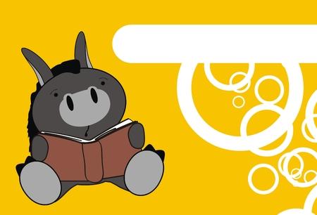 donkey baby reading cartoon wallpaper in vector format Vector