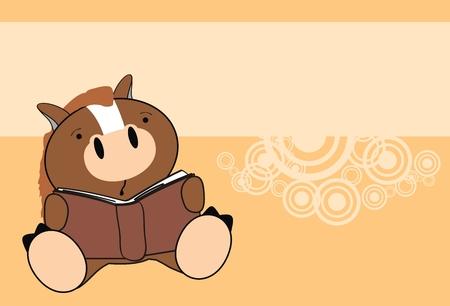 horse baby reading cartoon wallpaper in vector format Vector