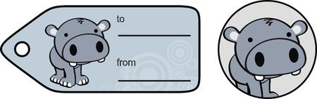 ベクトル形式のカバのかわいいステッカー copyspace  イラスト・ベクター素材