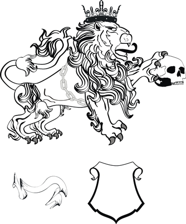 lion heraldic coat of arms tattoo in vector format Vector
