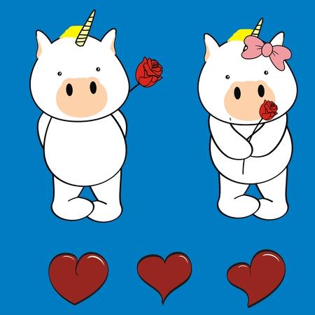 inlove: unicorn baby cartoon cute rose valentine in vector format Illustration