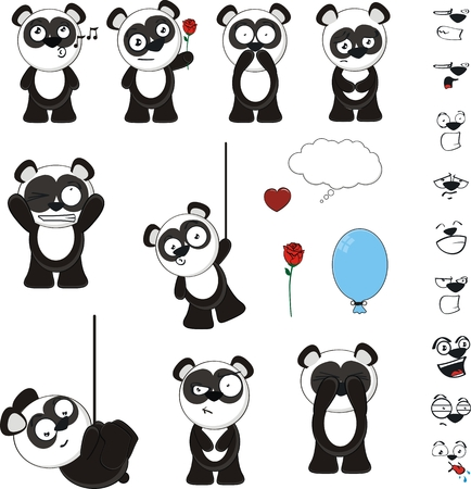 panda bear cartoon set funny in vector format Vector