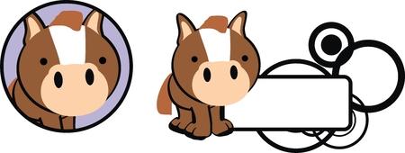 copysapce: horse baby copysapce cartoon in vector format Illustration