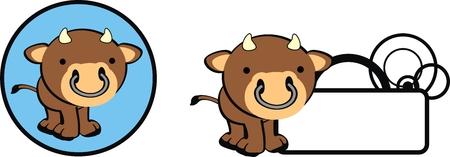 copysapce: bull baby copysapce cartoon in vector format Illustration