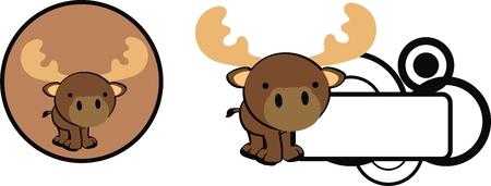 copysapce: reindeer baby copysapce cartoon in vector format