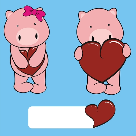 pig  boy and girl sweet cartoon in vector format Vector