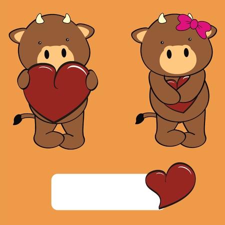 bull  boy and girl sweet cartoon in vector format Vector
