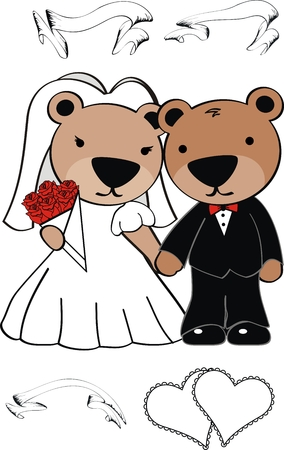 teddy bear cute cartoon wedding set in vector format Vector