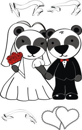 panda bear cute cartoon wedding set in vector format Vector