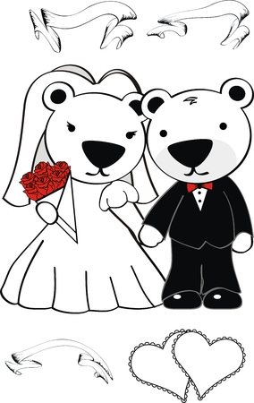 polar bear cute cartoon wedding set in vector format Vector