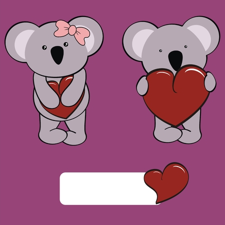 koala baby cartoon love set in vector format very easy to edit Vector