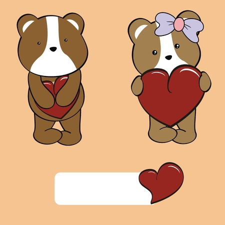 hamster baby cartoon love set in vector format very easy to edit