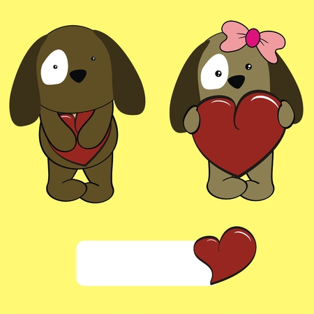 doggy baby cartoon love set in vector format very easy to edit Illustration