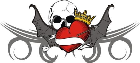 corazon con alas: pegatina coraz�n alas de murci�lago tatuaje en formato vectorial