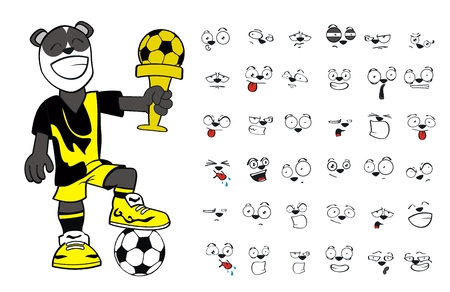 panda bear cartoon soccer set in vector format Vector