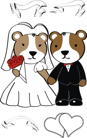 hamster cute cartoon wedding set in vector format Illustration