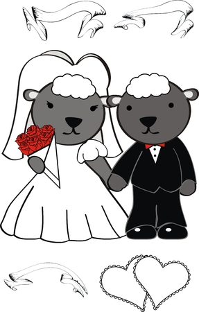 sheep cute cartoon wedding set in vector format Vector
