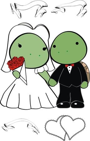 turtle cute cartoon wedding set in vector format
