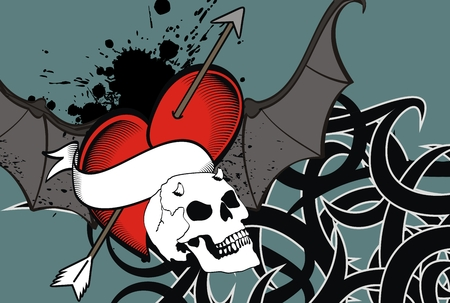 heart winged bat skull tattoo card in vector format Vector