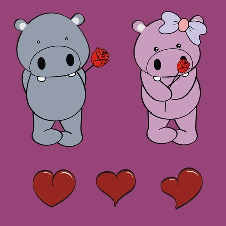 hippo baby love cartoon rose valentine set in vector format Vector