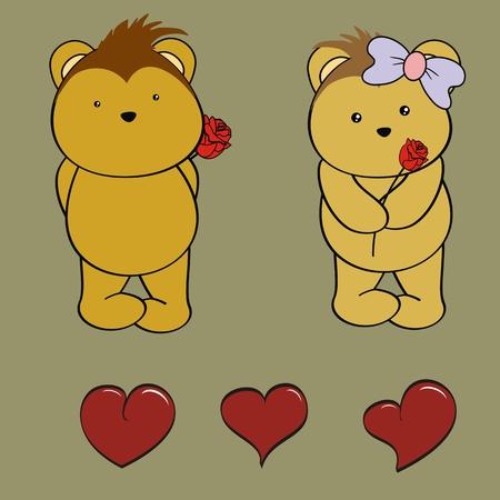 porcupine: porcupine baby love cartoon rose valentine set in vector format Illustration