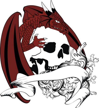 dragon crest coat of arms tattoo tshirt in vector format very easy to edit