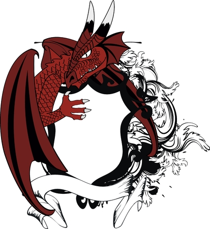 dragon crest coat of arms tattoo tshirt in vector format very easy to edit Vector