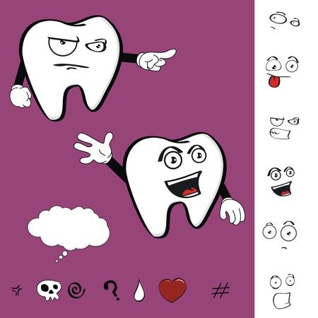 tooth cartoon: molar dental tooth cartoon set expression in vector format