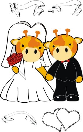 giraffe cartoon cute married in vector format very easy to edit Vector