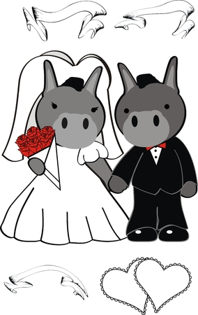 romantic: donkey cartoon cute married in vector format very easy to edit Illustration