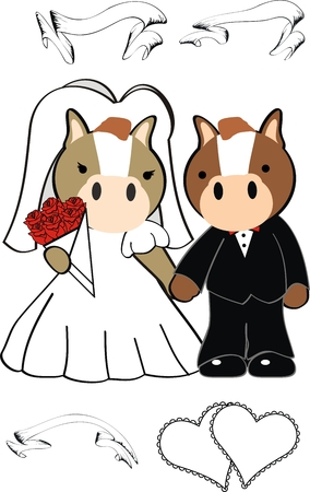 horse cartoon cute married in vector format very easy to edit