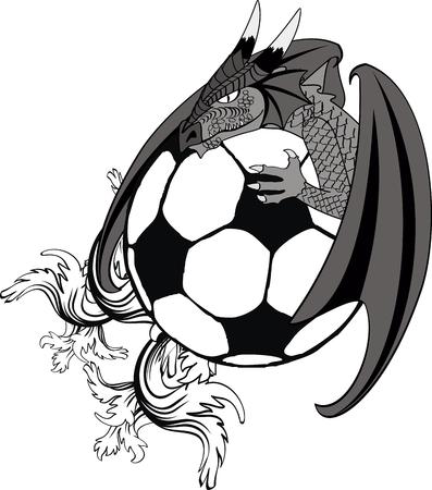 soccer ball medieval dragon tatto tshirt in vector format Reklamní fotografie - 29311933