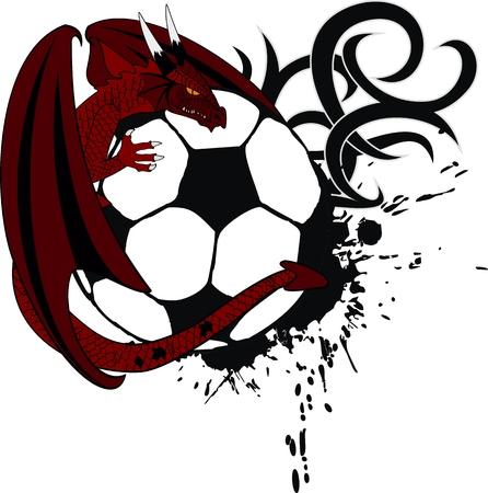 soccer ball medieval dragon tatto tshirt in vector format Vector