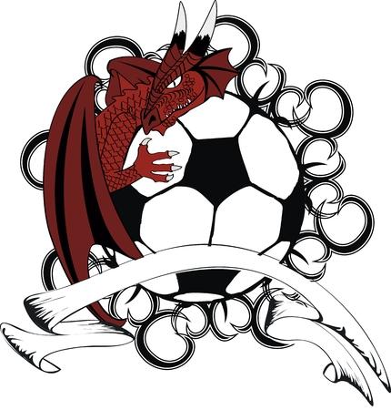 tatto: soccer ball medieval dragon tatto tshirt in vector format