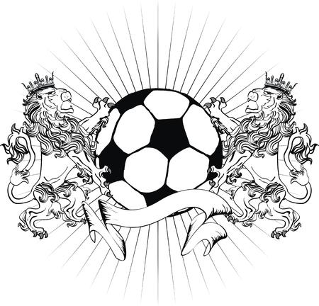 futbol: lion heraldic coat of arms lion tattoo soccer in vector format