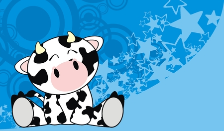 sit: cow baby cute sit cartoon background in vector format Illustration