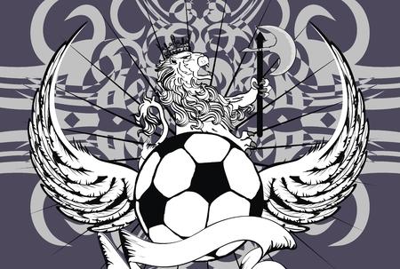 futbol: lion heraldic soccer coat of arms wallpaper in vector format  Illustration