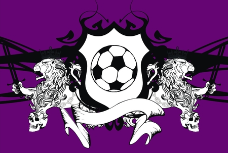 lion heraldic soccer coat of arms wallpaper in vector format  Vector