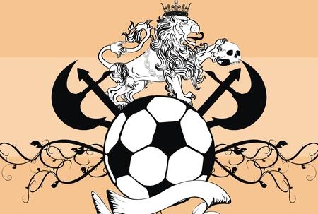 futbol soccer: lion heraldic soccer coat of arms wallpaper in vector format  Illustration