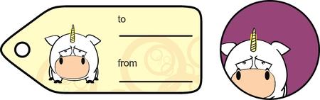 Einhorn Baby niedlichen Cartoon-Aufkleber im Vektorformat Standard-Bild - 30184109