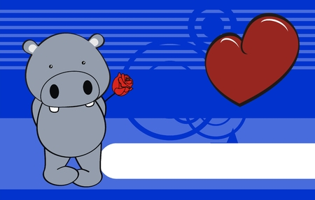 rose: hippo cartoon cute rose background  Illustration