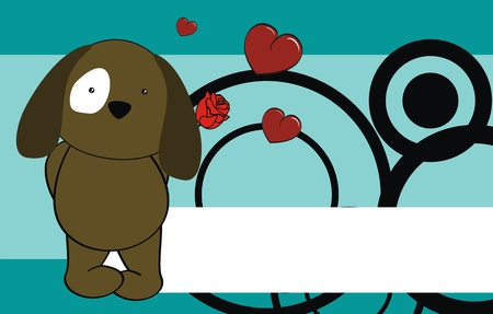 rose: puppy cartoon cute rose background Illustration