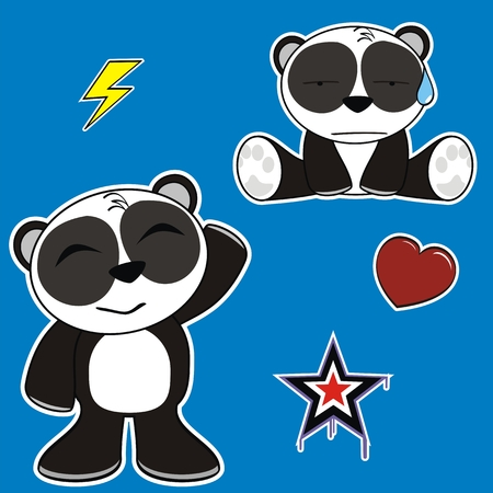 panda bear cartoon sticker set in vector format Vector
