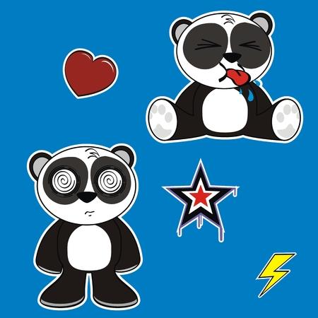 panda bear: panda bear cartoon sticker set in vector format