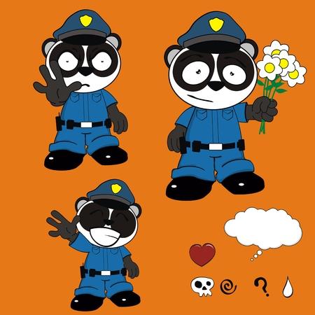 patrolman: panda bear police cartoon set in vector format Illustration